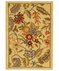 Handmade Paradise Ivory Wool Rug (1'8 x 2'6)