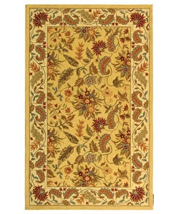 Handmade Paradise Ivory Wool Rug (5'3 x 8'3)