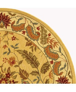 Handmade Paradise Ivory Wool Rug (3' Round)
