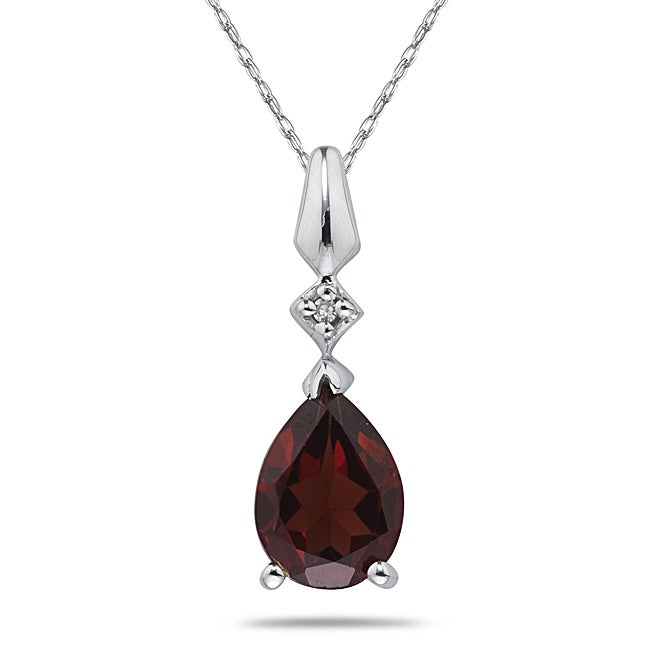 Marquee Jewels 10k White Gold Garnet and Diamond Necklace