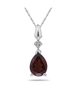10k White Gold Garnet and Diamond Necklace