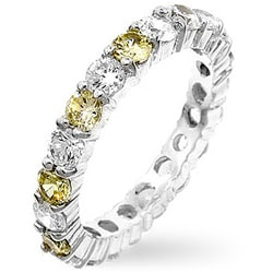 Kate Bissett Sterling Silver Yellow and Clear CZ Eternity Ring