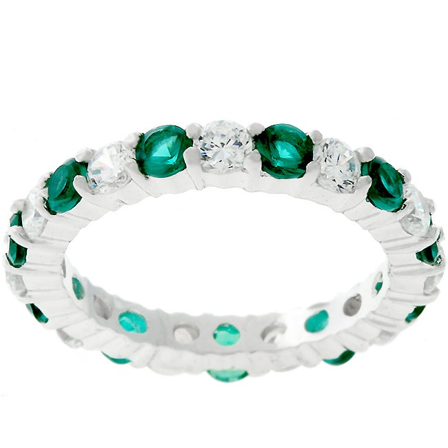 Kate Bissett Sterling Silver Green and Clear Stackable CZ Eternity Ring