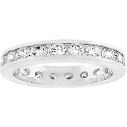 Kate Bissett Silvertone Embedded Stackable Cubic Zirconia Eternity Band