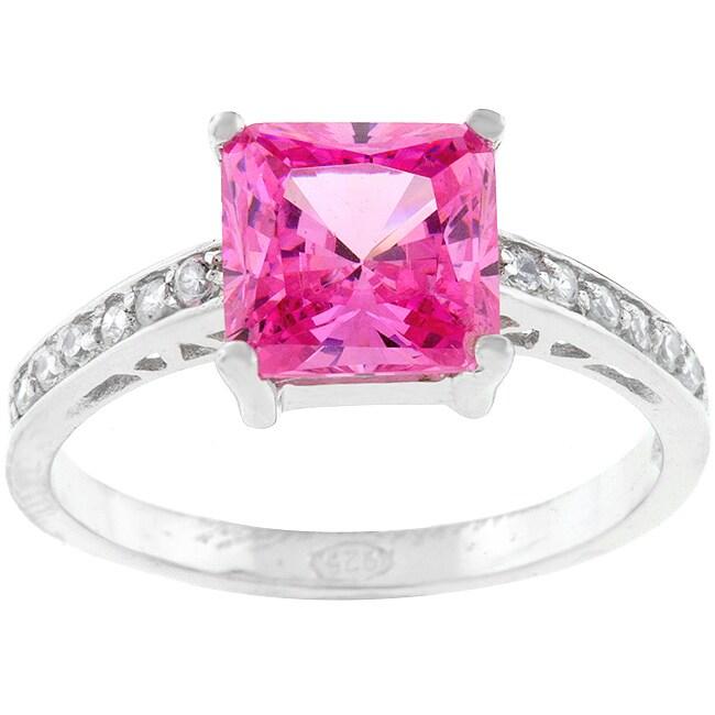 kate bissett sterling silver pink princess cut cz ring