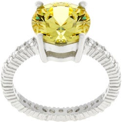 Kate Bissett Sterling Silver Yellow Round-cut CZ Eternity Ring