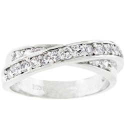 Kate Bissett Silvertone CZ Criss-cross Eternity Band