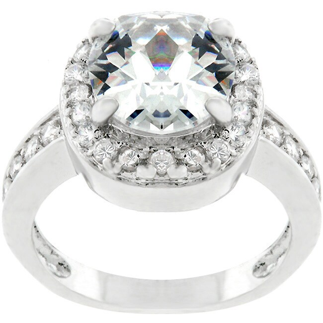 Kate Bissett Silvertone Cushion-cut Cubic Zirconia Ring