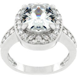 Kate Bissett Silvertone Cushion-cut Cubic Zirconia Ring