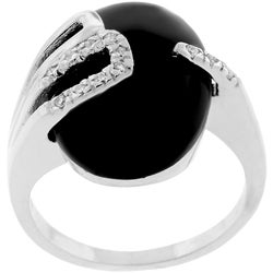 Kate Bissett Silvertone Black Enamel CZ Fashion Ring