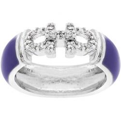 Kate Bissett Silvertone Purple Enamel Horseshoe Ring