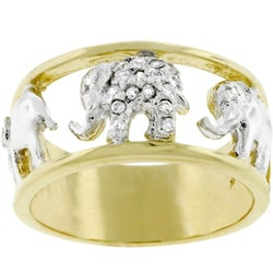 Kate Bissett Two-tone Elephant Design Cubic Zirconia Ring