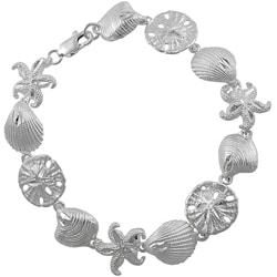 Journee Collection Sterling Silver Sea Shell Link Bracelet