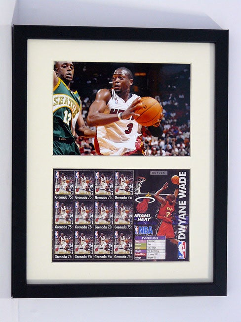 Dwayne Wade Framed Stamp Collection with Photo and Certificate