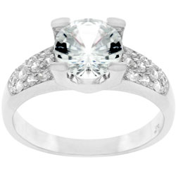 Kate Bissett Silvertone Round-cut and Pave CZ Ring