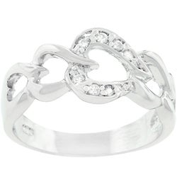 Kate Bissett Sterling Silver Cubic Zirconia Heart Journey Ring