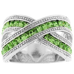 Kate Bissett Silvertone Criss-cross Green Cubic Zirconia Ring