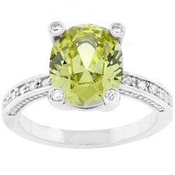 Kate Bissett Silvertone Oval-cut Green CZ Fashion Ring
