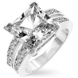 Kate Bissett Silvertone Princess-cut Cubic Zirconia Ring