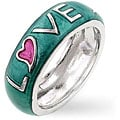 Kate Bissett Silvertone Blue and Pink Enamel 'Love' Ring