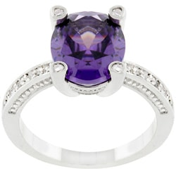 Kate Bissett Silvertone Antique-inspired Purple CZ Ring