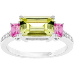 Kate Bissett Sterling Silver Pink and Green Cubic Zirconia Ring