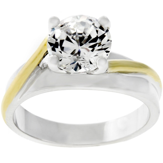 Kate Bissett Two-tone Cubic Zirconia Bridal-inspired Solitaire Ring