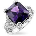 Kate Bissett Silvertone Antique-Inspired Purple CZ Fashion Ring