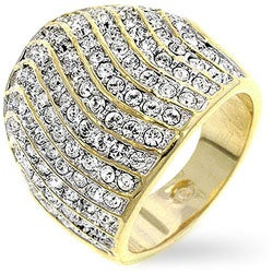 Kate Bissett Goldtone Waves of Cubic Zirconia Fashion Ring