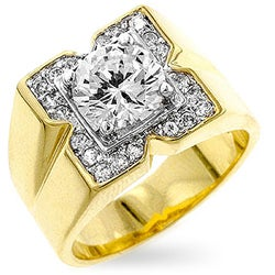 Kate Bissett Men's Goldtone 'X' CZ Ring