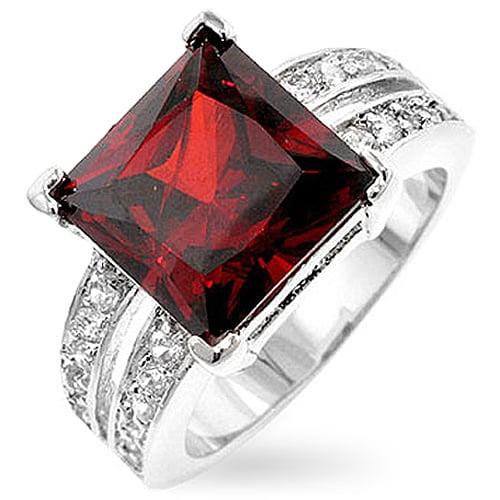 Kate Bissett Silvertone Princess-cut Red CZ Ring