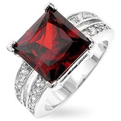 Kate Bissett Silvertone Princess-cut Red CZ Ring