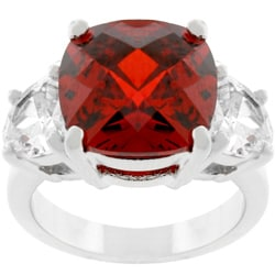 Kate Bissett Silvertone Cushion-cut Red CZ Ring