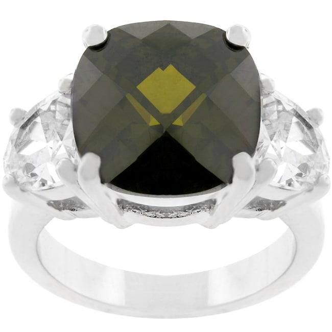 Kate Bissett Silvertone Cushion-cut Olive CZ Ring