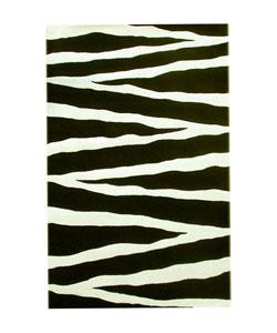 Hand-tufted Zebra Print Wool Rug (8' x 10'6)