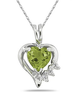 10k White Gold Peridot and Diamond Heart Necklace