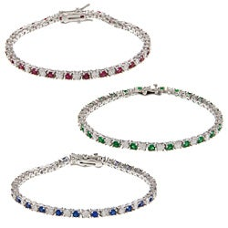 Kate Bissett Silvertone Colored Cubic Zirconia Tennis Bracelet