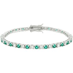 Kate Bissett Silvertone Emerald-cut CZ Tennis Bracelet