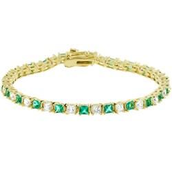 Kate Bissett Goldtone Emerald-cut CZ Tennis Bracelet