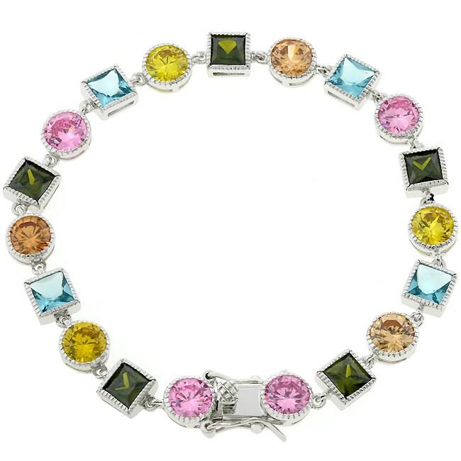 Kate Bissett Silvertone Multi-colored Cubic Zirconia Bracelet