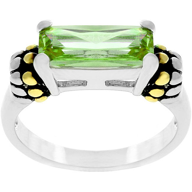 Kate Bissett Two-tone Green Cubic Zirconia Ring