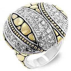 Kate Bissett Two-tone Pave CZ Designer-inspired Ring