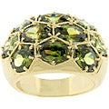 Kate Bissett Goldtone Honeycomb Olive CZ Cocktail Ring