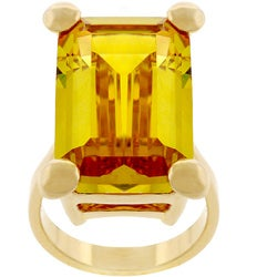 Kate Bissett Goldtone Emerald-cut Yellow CZ Cocktail Ring