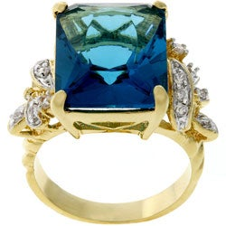 Kate Bissett Two-tone Emerald-cut Blue CZ Cocktail Ring