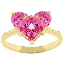Kate Bissett Goldtone Heart Shaped Pink Cubic Zirconia Ring