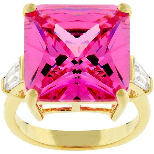 Kate Bissett Goldtone Princess-cut Pink CZ Cocktail Ring