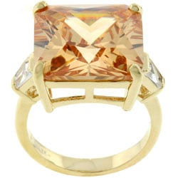 Kate Bissett Goldtone  Princess-cut Champagne CZ Cocktail Ring