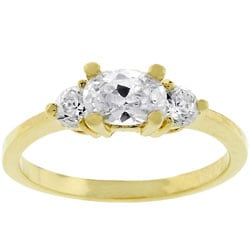 Kate Bissett Goldtone Oval-cut Cubic Zirconia Ring