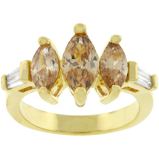 Kate Bissett Goldtone 3-stone Marquise Cubic Zirconia Ring